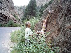 Rock Climbing Photo: Maya Girl sending her first outdoor boulder proble...
