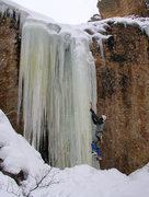 Rock Climbing Photo: Starting up the final curtain on The Brittle Stiff...