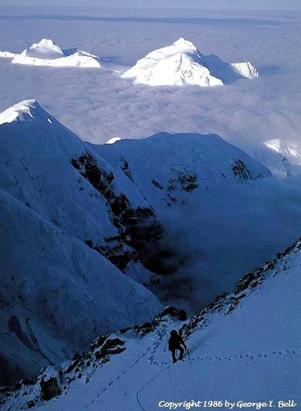 The two summits of Hunter from 16,500' on Denali's South Buttress.