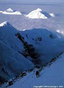 Rock Climbing Photo: The two summits of Hunter from 16,500' on Denali's...