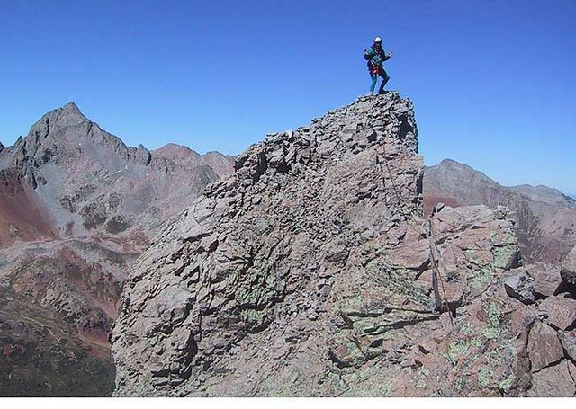 Rock Climbing Photo: Jennifer Roach on the summit, one of her last 13er...