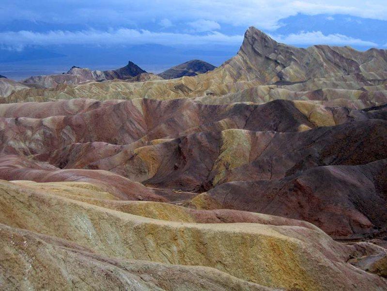 Original unretouched photograph.  Zabriskie point, Death Valley (2005) after a heavy rain.