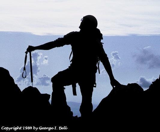 Alpinist silouette.