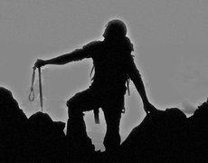Rock Climbing Photo: Alpinist silouette.