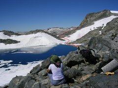 Rock Climbing Photo: North Glacier Pass and Lake Catherine (11,040').  ...