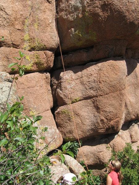 Rock Climbing Photo: Bottom part of climb.  Crack up to ledge, then go ...