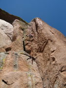 Rock Climbing Photo: Full shot of climb, top section goes inside chimne...