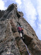 Rock Climbing Photo: Allen on P6b moving up towards the protectable roo...