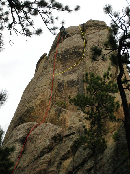 Rock Climbing Photo: Sentinel Rock  Red Line is Unforgivable Acts, Yell...