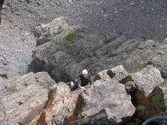 Rock Climbing Photo: Allen coming up to the belay below the summit over...