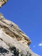 Rock Climbing Photo: Deb on the unknown 5.9 mini-dihedral route across ...