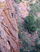 Rock Climbing Photo: Erik on the distinctive roof, using impeccable tec...
