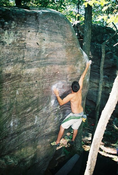 Rock Climbing Photo: Roberto D. sticking the throw on Starfish. Sept 08...