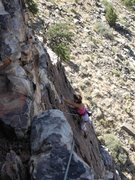 Rock Climbing Photo: Martha nearing the top of P2 Sticky Revelations