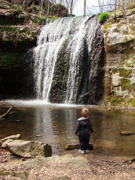 The boy at Stephen's Falls, Governor Dodge SP.  April 08.