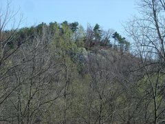 Rock Climbing Photo: The Qual Wall from the road before the leaves came...