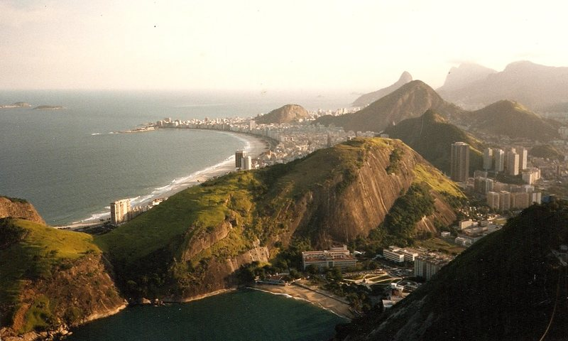 Copacabana Beach from Pao de Acucar, late 1988 or early 1989.