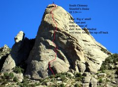 Rock Climbing Photo: The route in red with belays marked.  I suggest no...