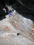 Rock Climbing Photo: Looking down at Britne on the overhanging 10d corn...