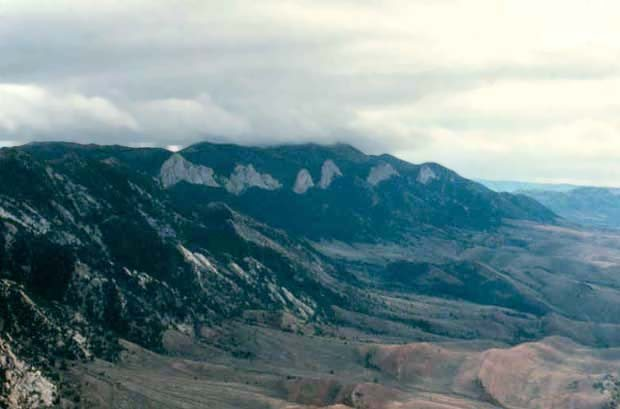 Ferris Mountains from the south.  Limestone in the background, sandstone of dubious quality in the foreground.