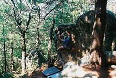 Rock Climbing Photo: Jay on the Cube, left arete problem.  June or July...