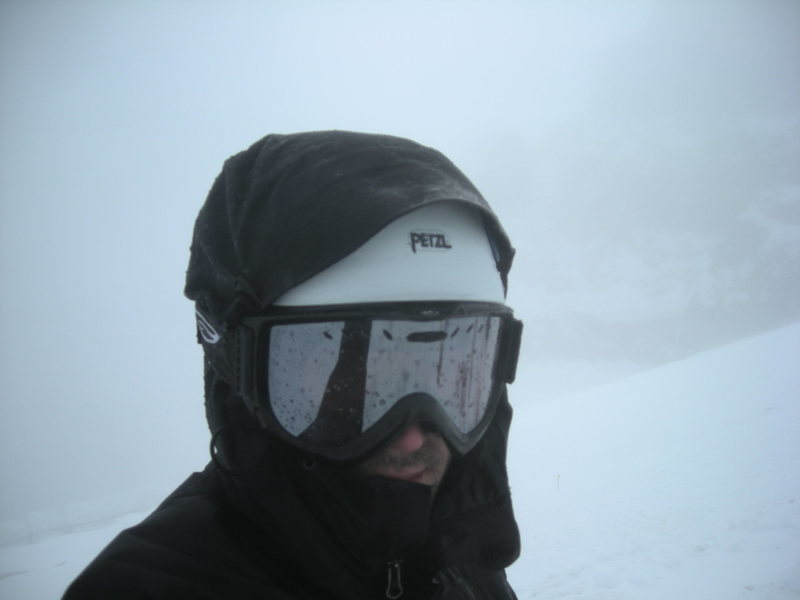 Me gathering my self during whiteout conditions; the flats, Mt. Rainier