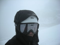 Rock Climbing Photo: Me gathering my self during whiteout conditions; t...