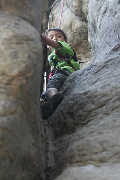 Max Paik, ascending his first outdoor climb.  Photo credit: David Paik.