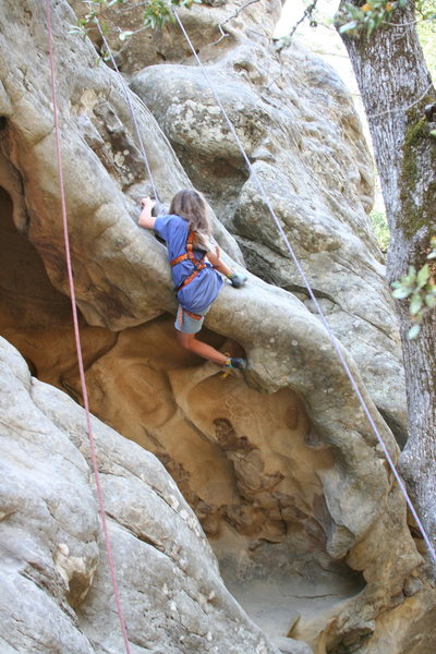 Rock Climbing Photo: Jaclyn Paik, 10, trying to pull the roof.  Photo c...