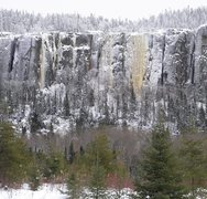 Rock Climbing Photo: From Domtar road, you can see Whimpsickle, the lef...
