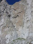 Rock Climbing Photo: the red line shows the approximate line of the fir...