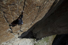 Rock Climbing Photo: looking down at the twin seams from the belay