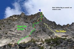 Rock Climbing Photo: Topo and very distorted view of the South Face. A ...