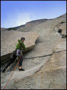 Rock Climbing Photo: The flake at Pitch 1.