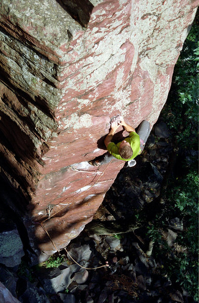 The End. Moves above the crux with all placements visible below. Photo by Isaiah@ de Therneau.