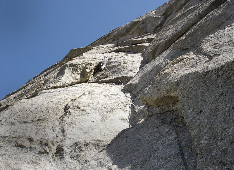 Pitch 5 with the steep stuff looming above!