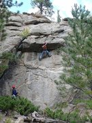 Rock Climbing Photo: Jeremy Steck climbing through the roof.