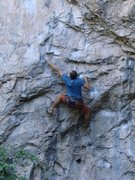Rock Climbing Photo: Chris K. sticking the reachy lower crux move.