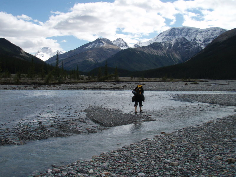 Rock Climbing Photo: Crossing the Sunwapta River