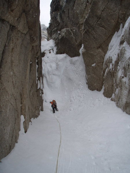 on a new route attempt...it snowed, the spindrift avalanches started....we headed down.