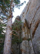 Rock Climbing Photo: Looking upwards at the chimney/flake system at the...