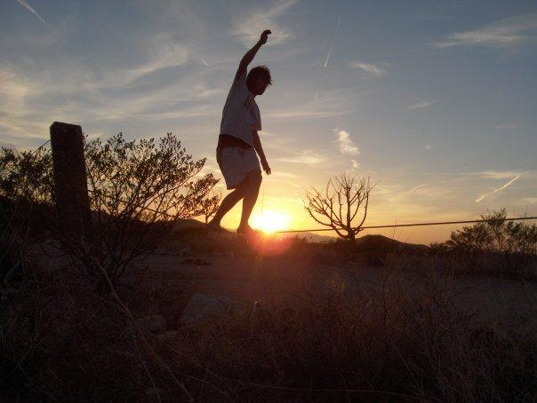 Rock Climbing Photo: slackline at hueco rock ranch