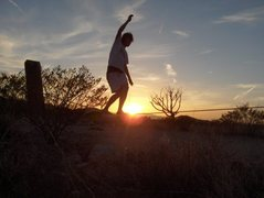 Rock Climbing Photo: slackline at hueco rock ranch