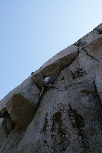 Rock Climbing Photo: Reaching the roof on Purgatory