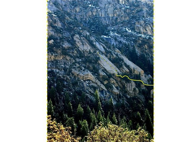 Rock Climbing Photo: Solid line is the approach.  Route is dashed line.