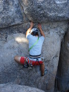 Rock Climbing Photo: Chris Lane finishing the lower slab and about to t...