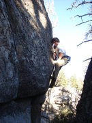 Rock Climbing Photo: Tom D finishing the crux sequence of By Hook or Cr...
