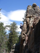 Rock Climbing Photo: Jochen leading the upper section of Bullish.