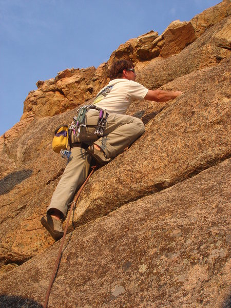 Rock Climbing Photo: Negotiating the upper bulges, en route to the roof...