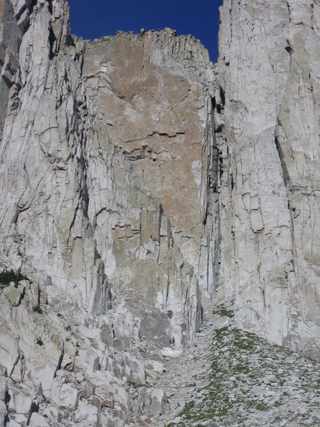 about to enter the crux on the first ascent...